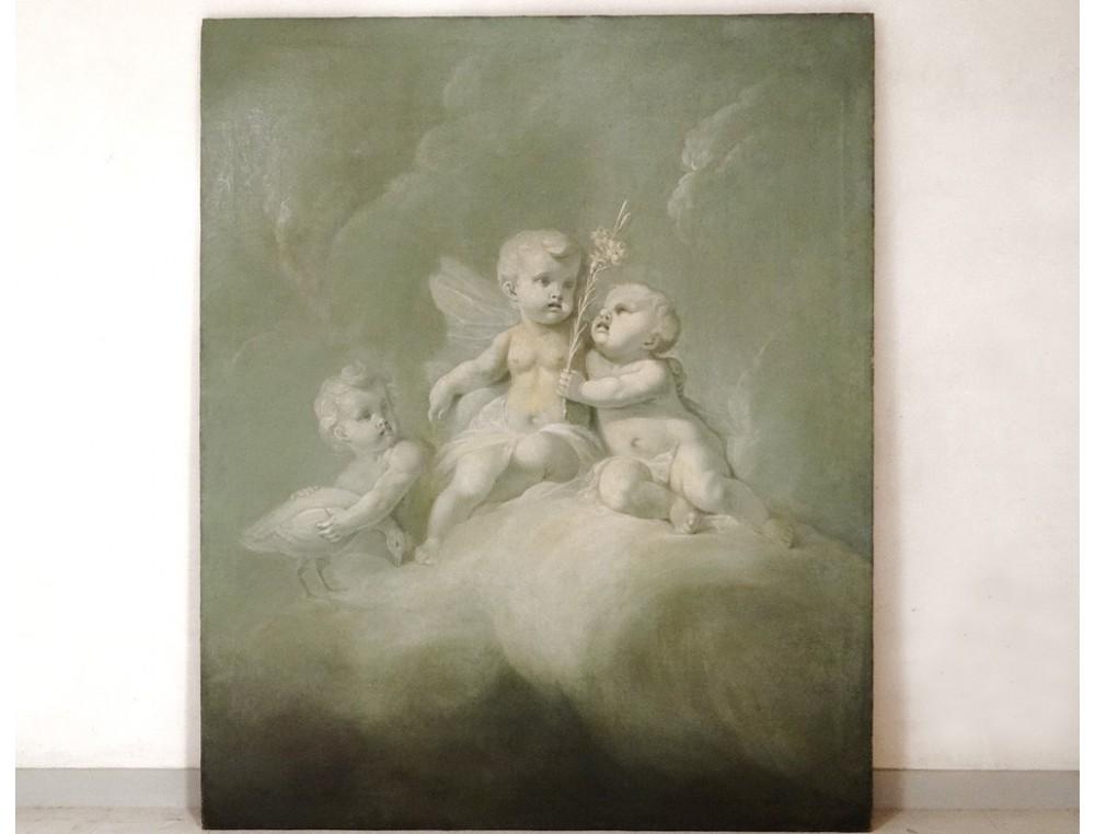 Exceptionnelle Hst Tableau Angelots Putti Painting Cherubs