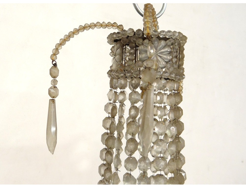 lustre corbeille pampilles guirlandes verre cristal taill charles x xix me