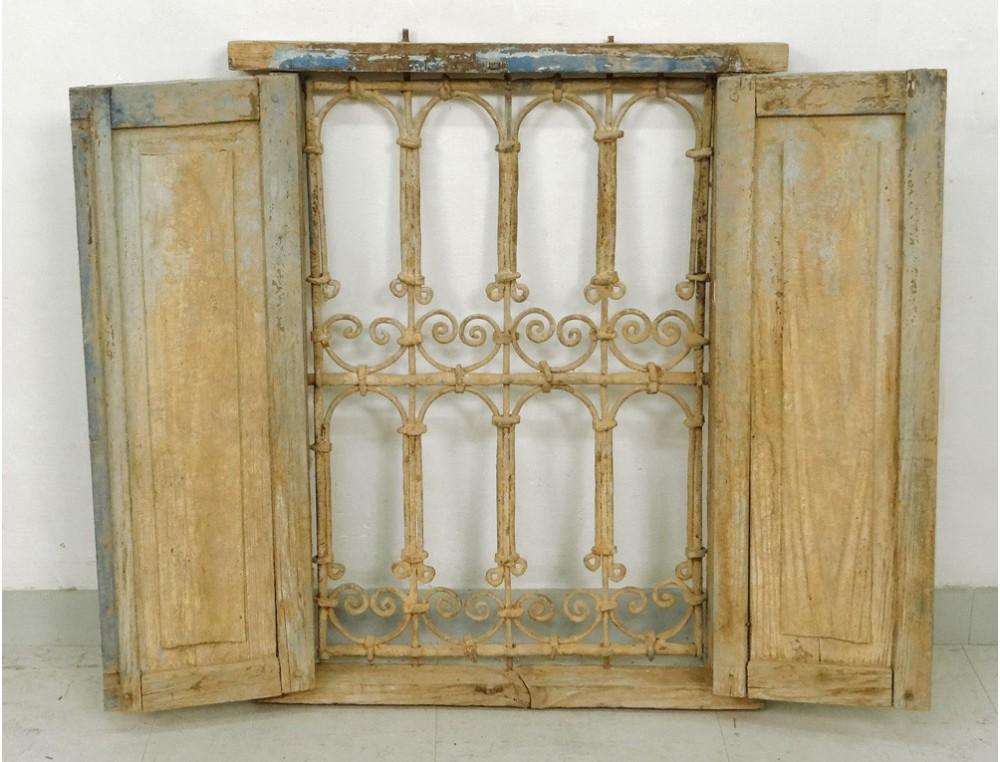 Fen tre marocaine grille fer forg bois peint maroc maghreb atlas d co xix - Grille fer forge castorama ...