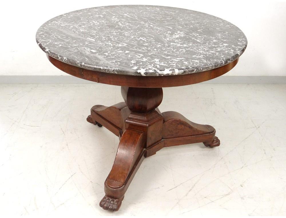 Gray Marble Pedestal Tripod Mahogany Table Legs Lions Xix