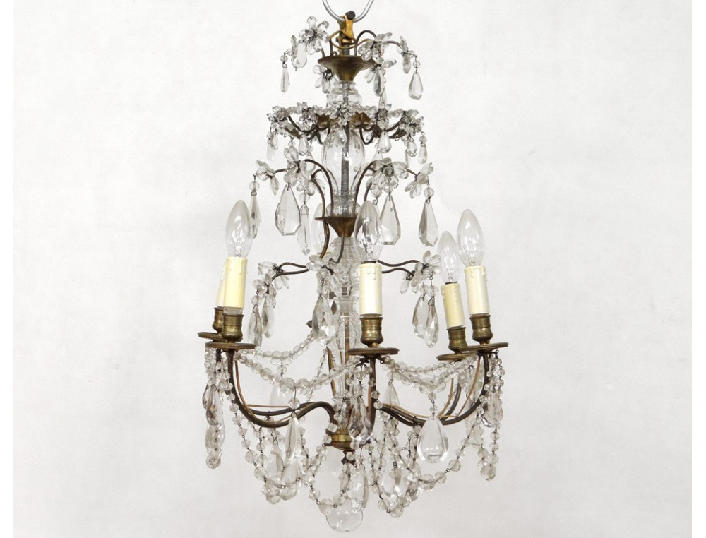 chandelier 6 lights ormolu chandelier crystal glass garlands twentieth suspension. Black Bedroom Furniture Sets. Home Design Ideas