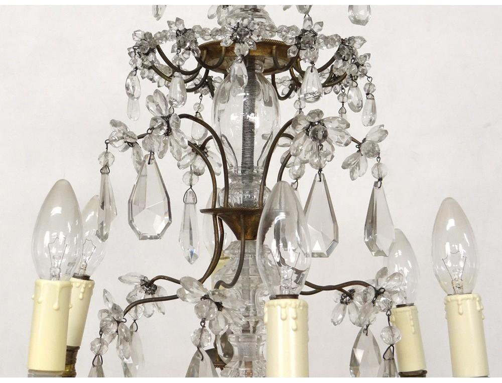 lustre 6 feux pampilles guirlandes bronze dor verre cristal suspension xx antiques de laval. Black Bedroom Furniture Sets. Home Design Ideas