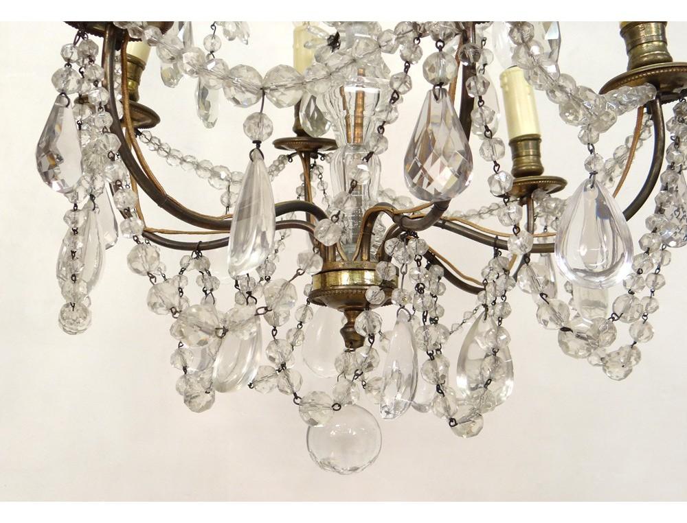 lustre 6 feux pampilles guirlandes bronze dor verre. Black Bedroom Furniture Sets. Home Design Ideas