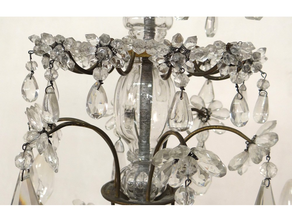 lustre 6 feux pampilles guirlandes bronze dor verre cristal suspension xx antiques de laval. Black Bedroom Furniture Sets. Home Design Ideas