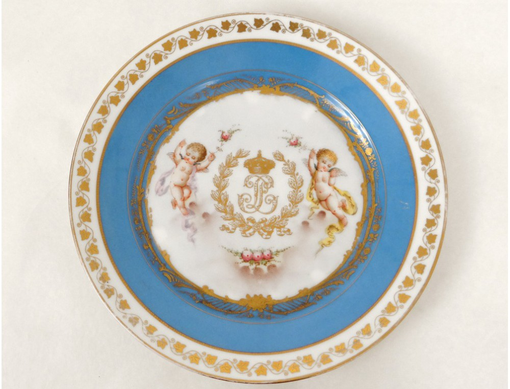 sevres porcelain plate louis philippe cherubs castle. Black Bedroom Furniture Sets. Home Design Ideas
