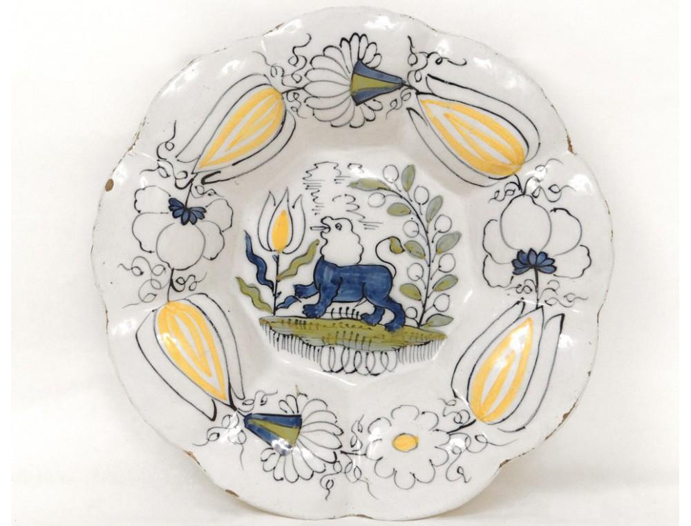 rare plat rond faïence delft godrons lion fleurs tulipes dish