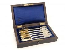 6 teaspoons silver gilt wooden box Minerva Napoleon III nineteenth