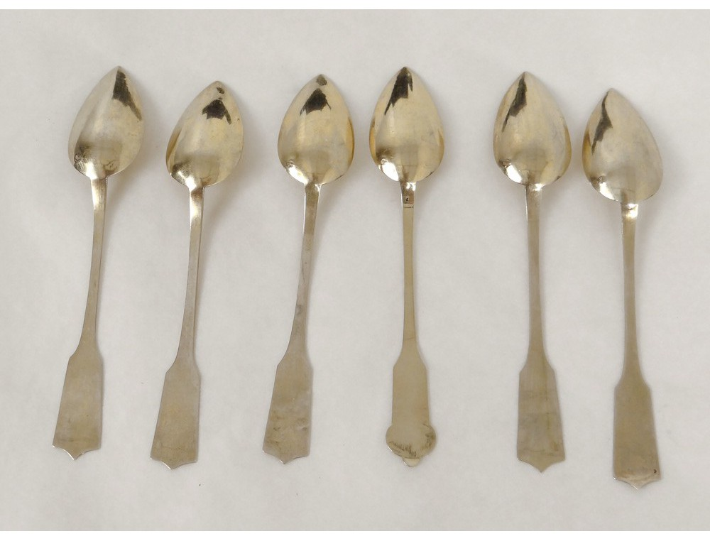 6 teaspoons silver gilt wooden box minerva napoleon iii for 6 table spoons to cups