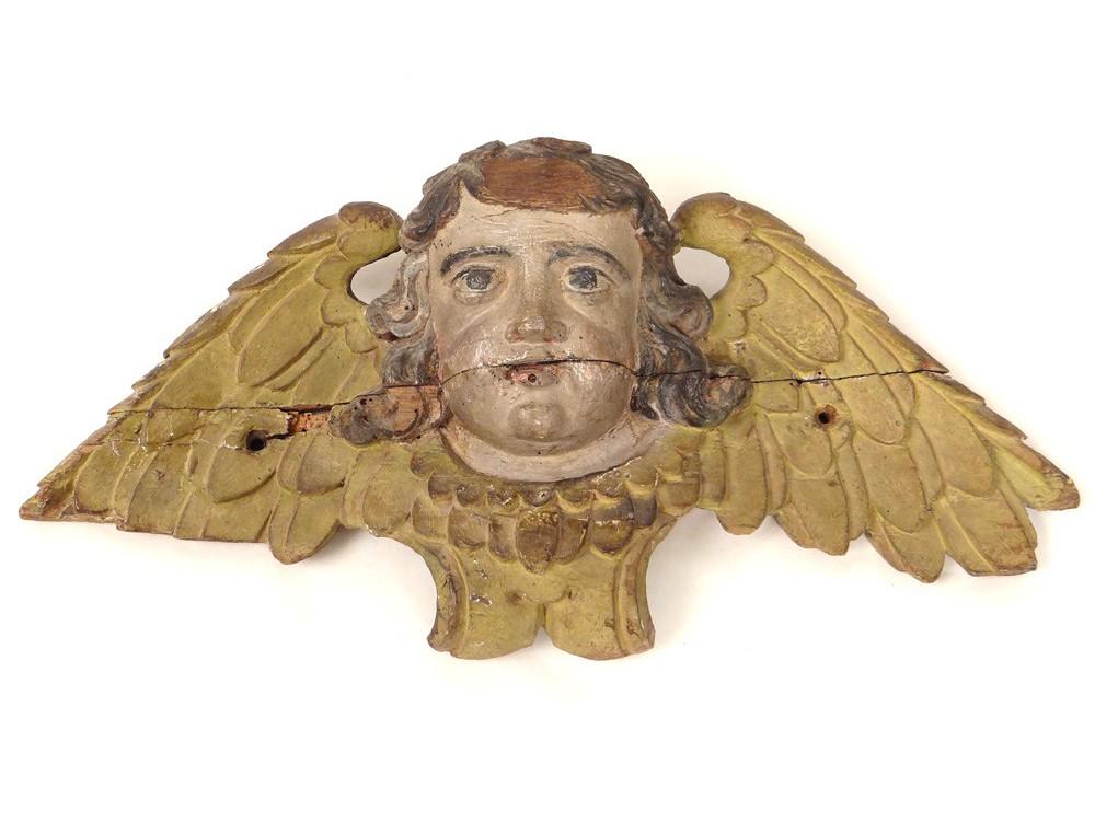 Sculpture Polychrome Carved Angel Cherub Putti Head