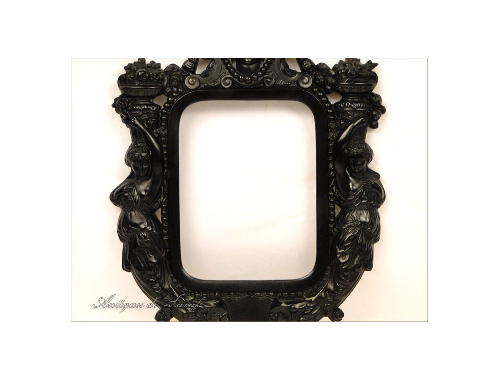 Ebony picture frame decorated with Napoleon III 19th Caryatids
