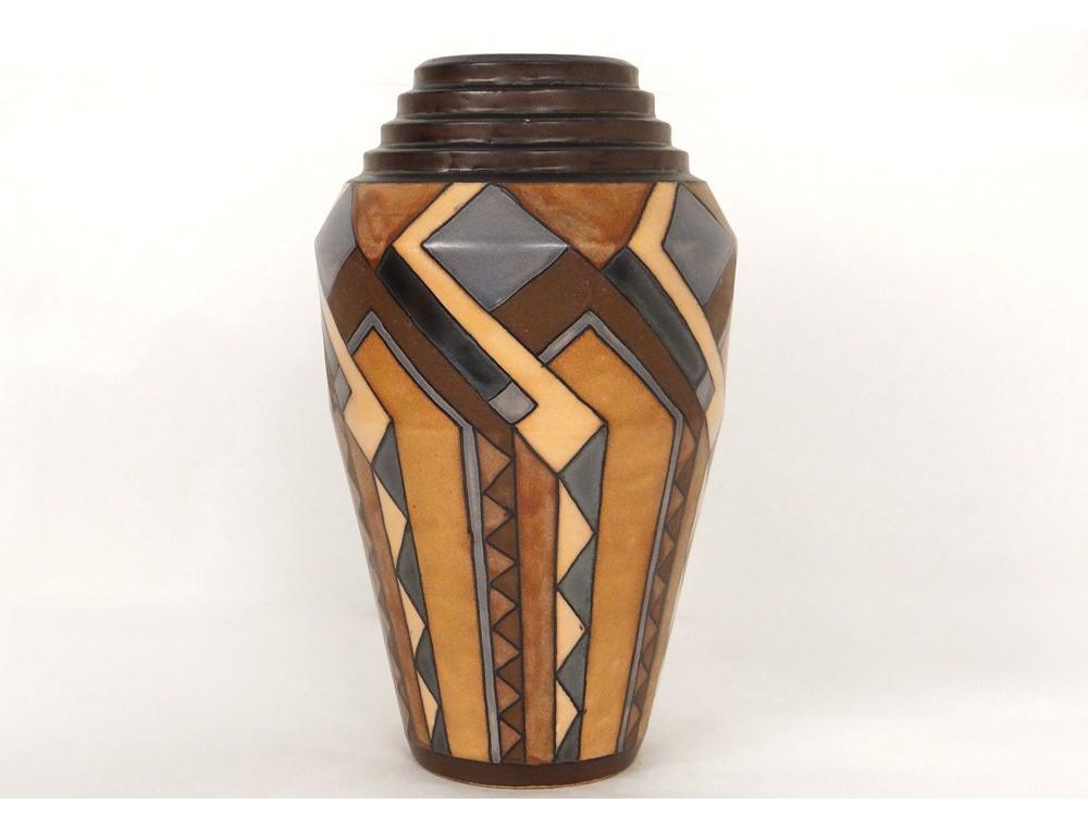 Superb hb quimper faience vase odetta ren beauclair for Deco quimper