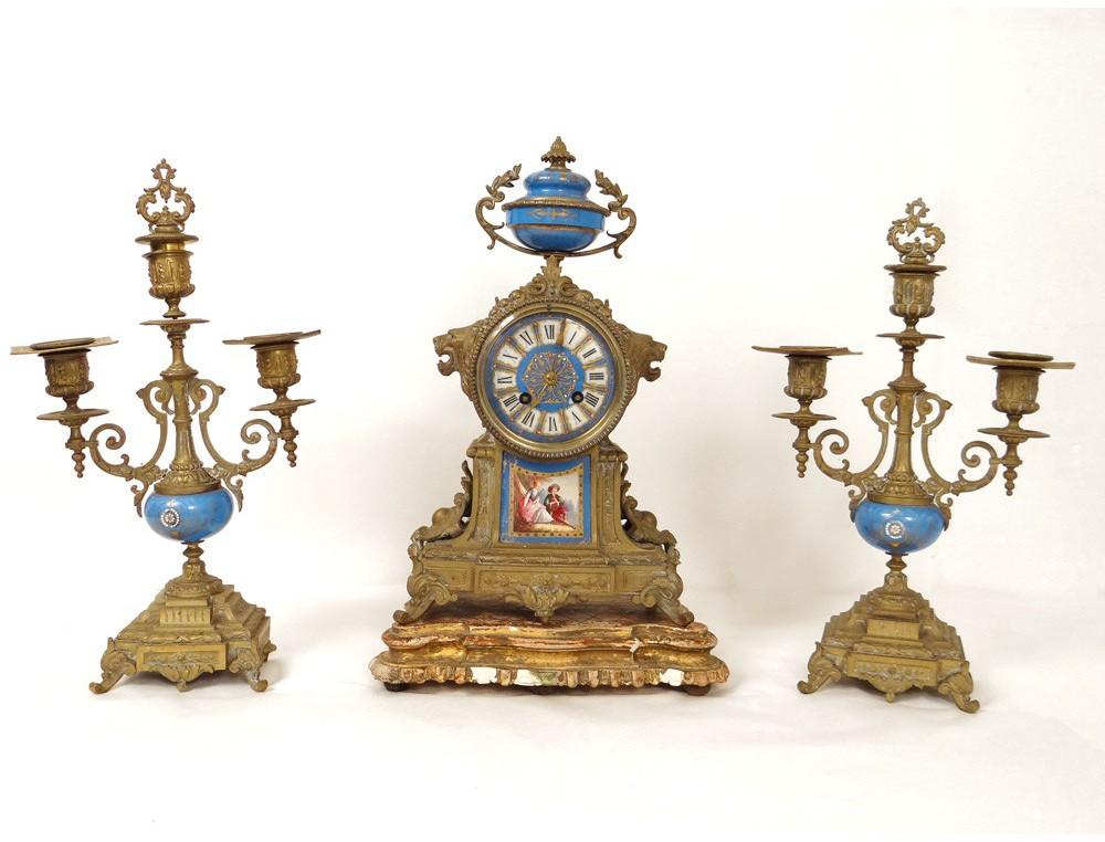 Garniture Cheminee Pendule Bronze Porcelaine Sevres Lions Napoleon