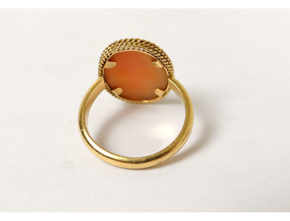 18k solid gold ring 750 cameo portrait young woman gold ring twentieth. Black Bedroom Furniture Sets. Home Design Ideas