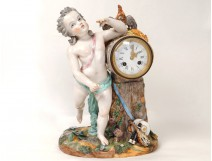 Exceptional porcelain cherub clock cock drum music allegory 19th