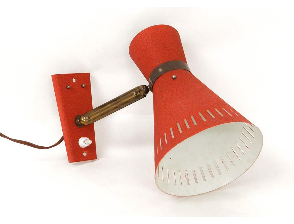 Lampe Murale Bureau Metal Laiton Dore Tole Design Vintage French