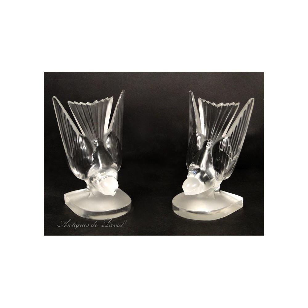 paire de serre livres lalique en cristal hirondelles 20e ebay. Black Bedroom Furniture Sets. Home Design Ideas
