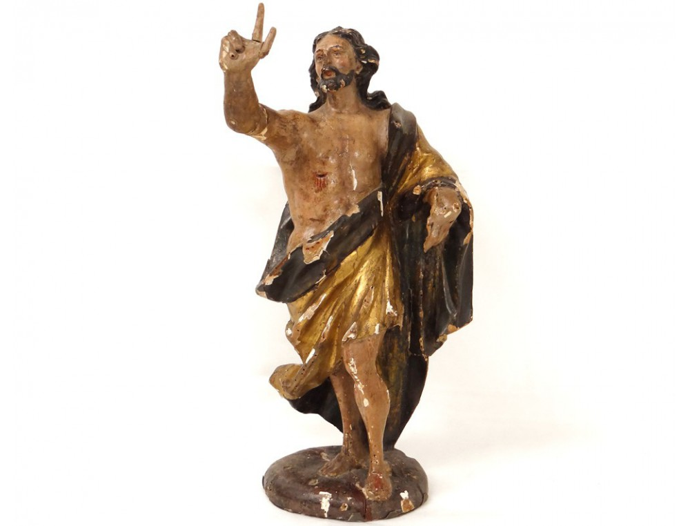 Rare sculpture gilded wood polychrome jesus christ glorious pantocrator 18th - Sculpture sur bois ...
