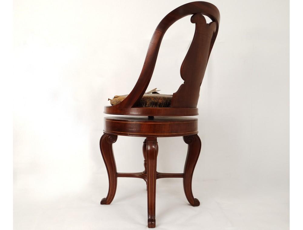 superbe chaise de harpiste charles x acajou dossier lyre