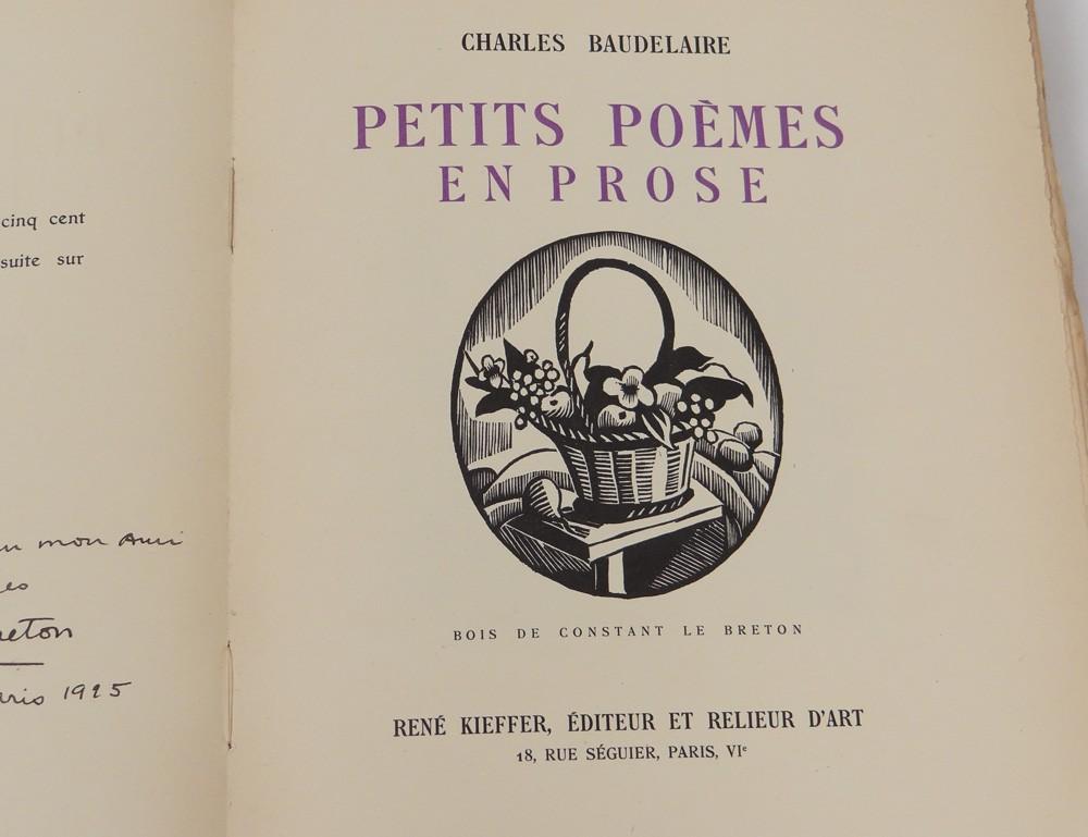 Détails Sur Livre Baudelaire Petits Poèmes En Prose Constant Le Breton 1922 Jonquières