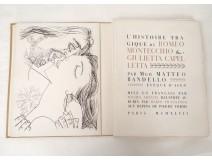 Livre histoire tragique Romeo Giulietta Mgr Bandello Arnaud Prassinos 1947
