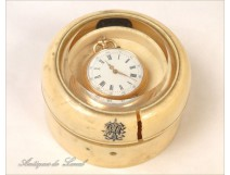 Watch stand or round box of ivory, Napoleon III, 19th
