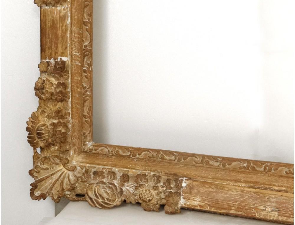 exceptionnel grand cadre bois sculpt dor fleur antique. Black Bedroom Furniture Sets. Home Design Ideas