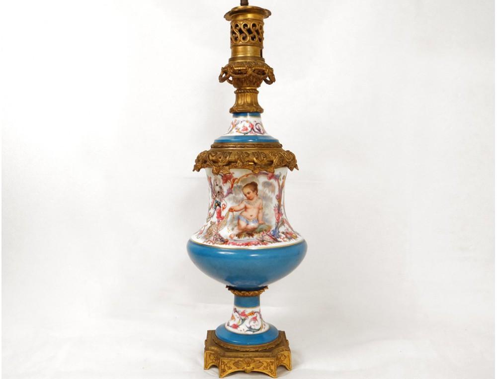 Lampe Petrole Porcelaine Bronze Enfant Indien Perroquet Panthere