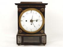 Superbe pendule borne quantième acajou bronze personnage antique clock XIXè
