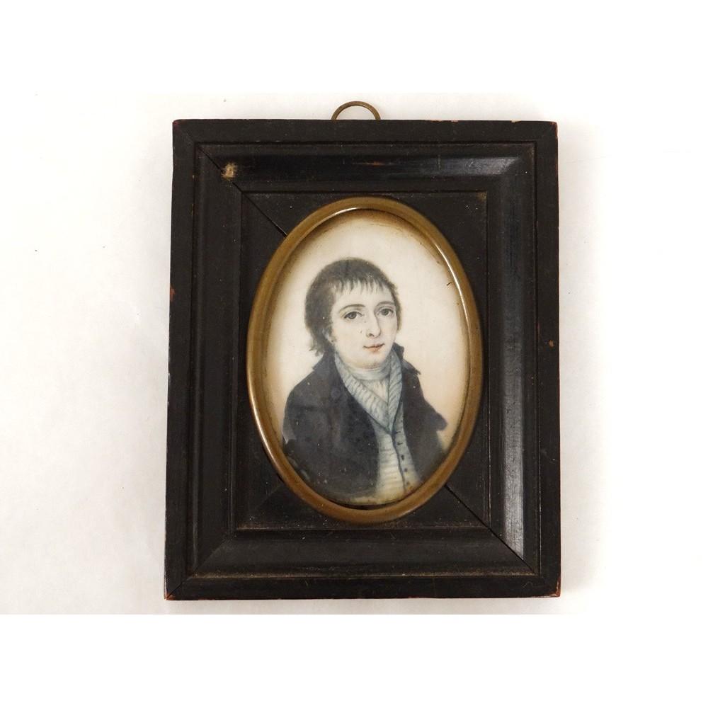 Miniature peinte portrait jeune homme directoire painting - Peinture chambre jeune homme ...