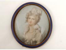 Miniature peinte portrait femme élégante camée cadre bronze cloisonné XIXè