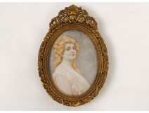 Painted miniature portrait young woman Belle Epoque framework gilt bronze XIXth