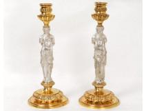 Rare pair of antique Caryatid bronze candlesticks Barbedienne candlesticks XIX