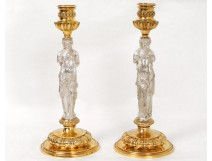 Rare paire bougeoirs bronze caryatide antique Barbedienne candlesticks XIXè