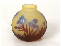 Superb small vase Emile Gallé glass paste ball iris Art Nouveau XIXth