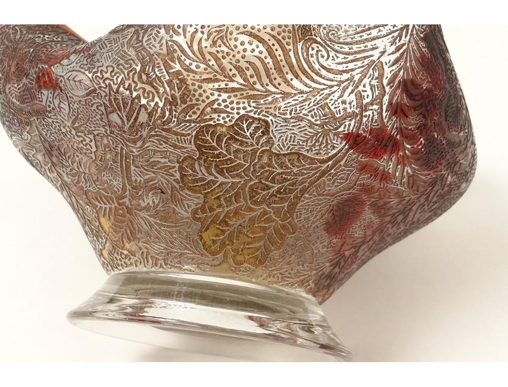 coupe cristallerie clichy verre color dorure feuillage