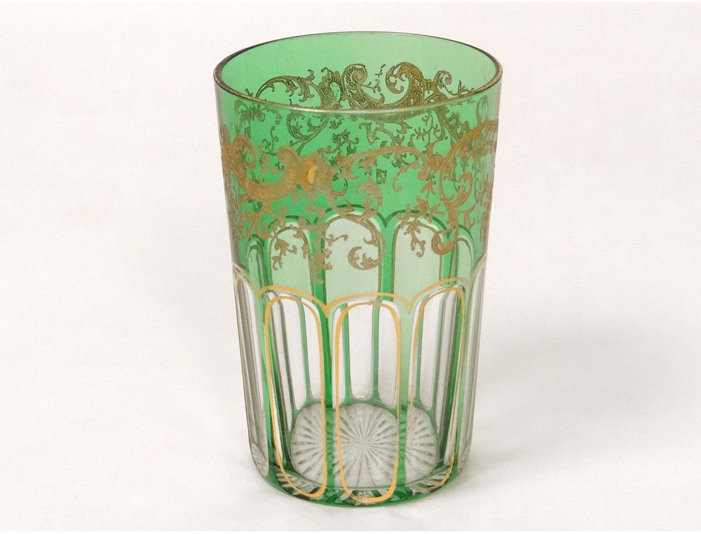 Verre gobelet cristal saint louis dorure feuillage french glass xix si cle - Verre saint louis prix ...