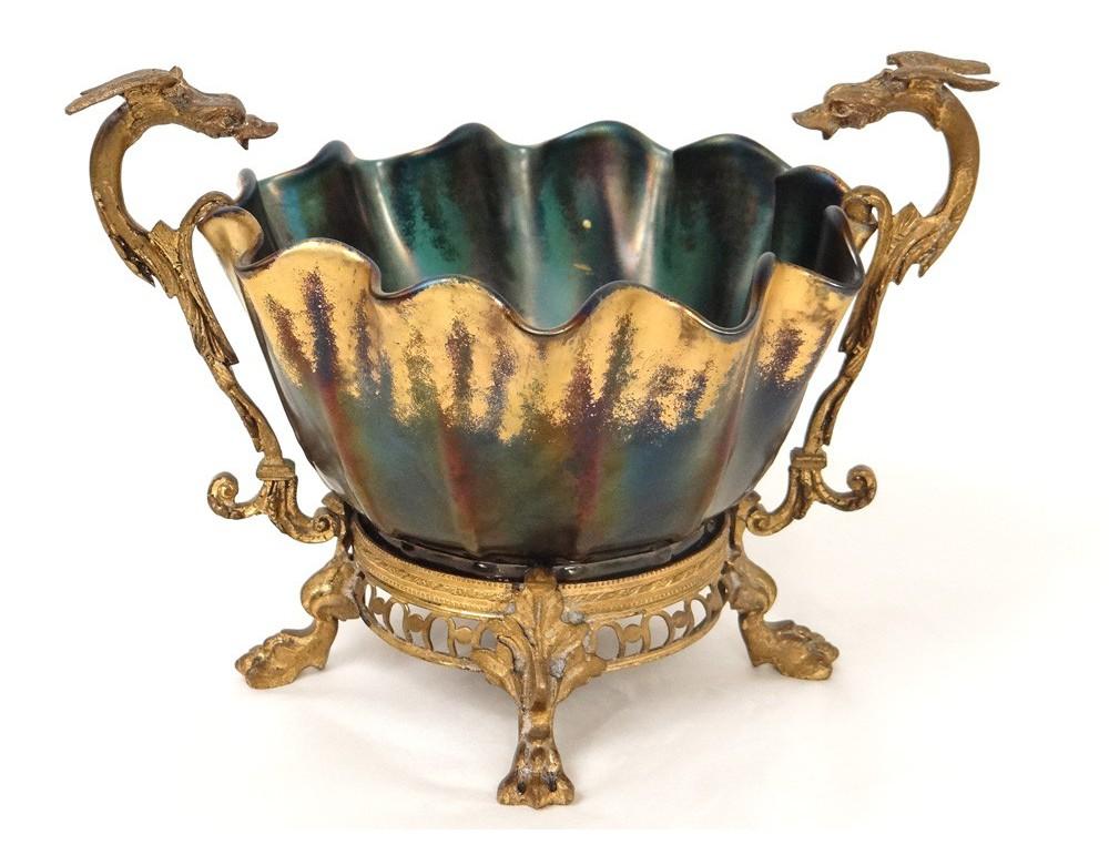 Loetz Dorure Irisé Verre Doré Art Monture Coupe Bronze Chimères QrxsChBtod