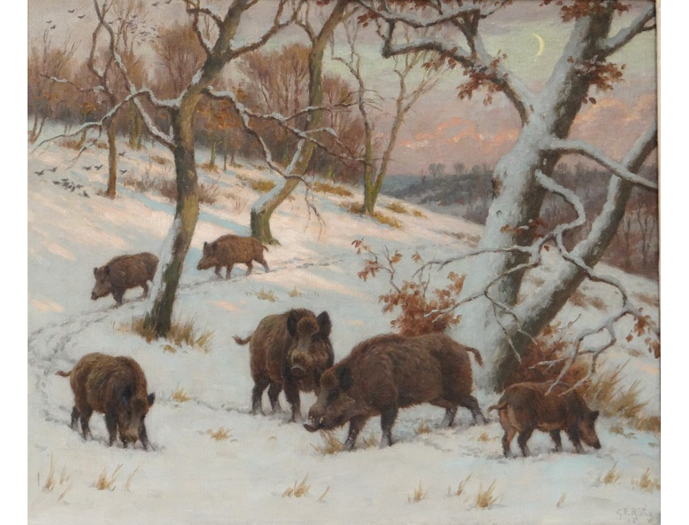 Beautiful Landscape Painting Hst Herd Boars Snow Gfr 246 Tig