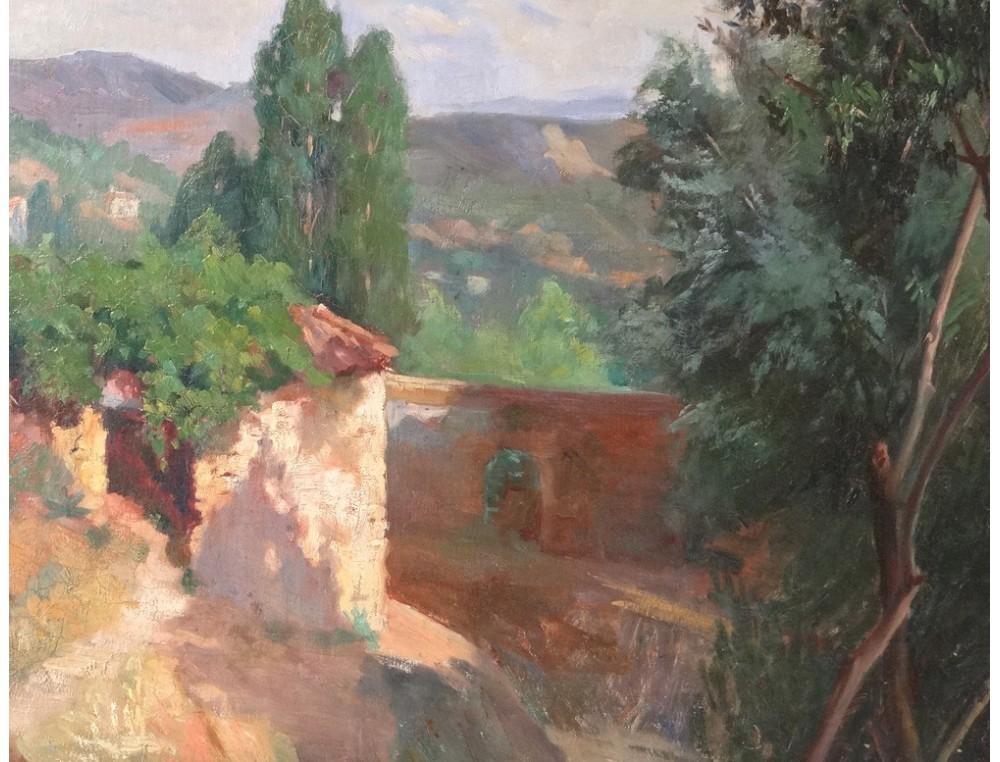 Superbe Hst Tableau Paysage Provence Mas Sud France
