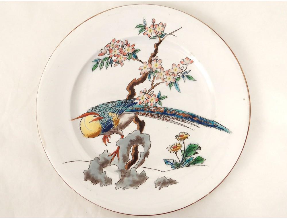 assiette fa ence bordeaux vieillard mod le grands oiseaux
