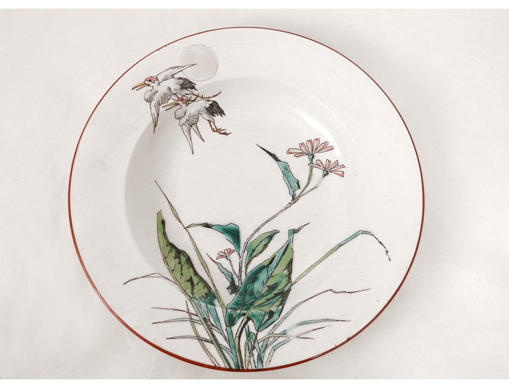 assiette creuse bordeaux vieillard grands oiseaux millet cigognes xix me. Black Bedroom Furniture Sets. Home Design Ideas