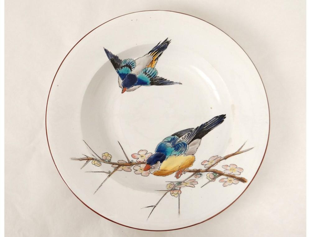 assiette creuse bordeaux vieillard grands oiseaux millet m sanges xix me. Black Bedroom Furniture Sets. Home Design Ideas