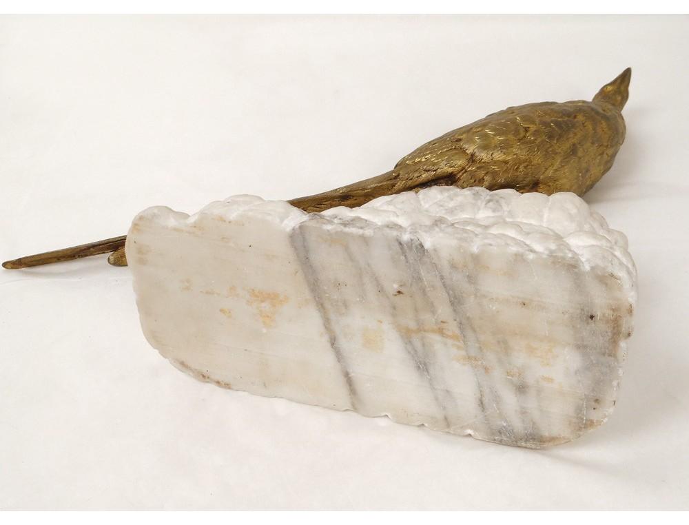 Sculpture faisan rocher léon bureau bronze doré marbre blanc