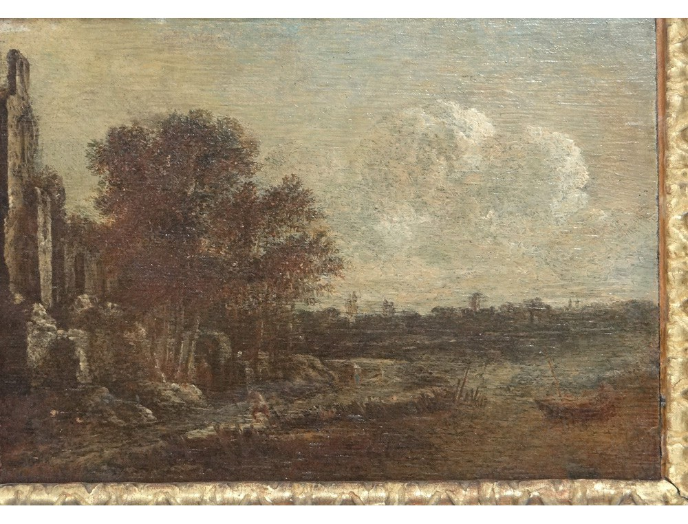 hsp dutch landscape painting aert van der neer carved frame painting 17th