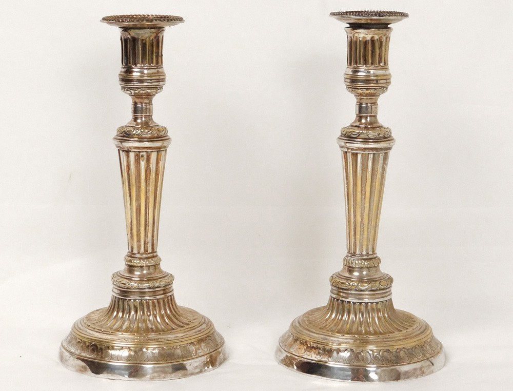 Paire Bougeoirs Flambeaux Louis Xvi Christofle Bronze