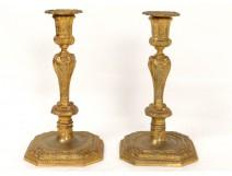Paire bougeoirs flambeaux Régence bronze portraits personnages oiseaux 19è
