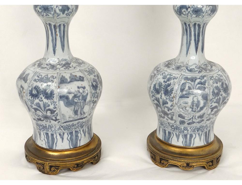 Personnages Lampes Delft Porcelaine À Paire Fleurs Bronze Pétrole 3Lqj5AR4