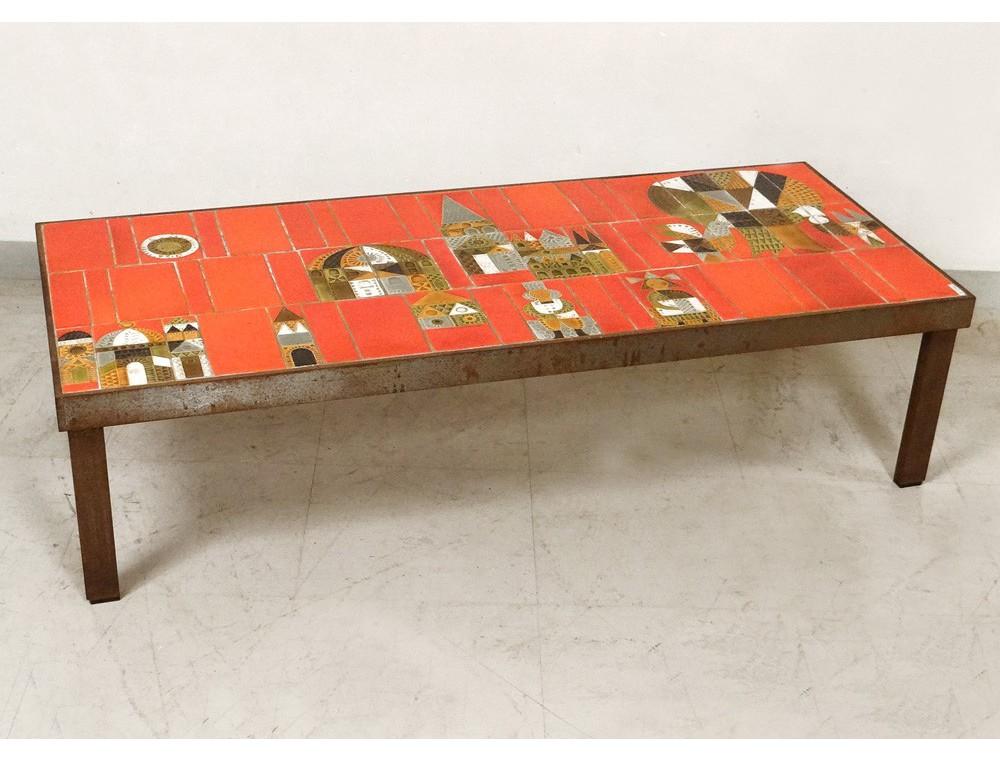 coffee table roger capron metal ceramic decor orientalist. Black Bedroom Furniture Sets. Home Design Ideas