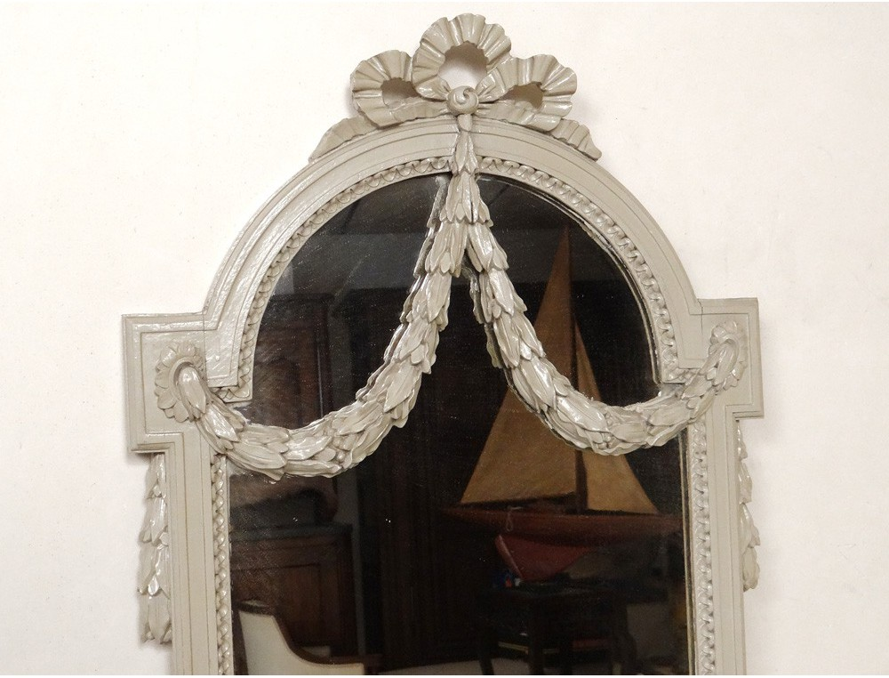 Console ice pier mirror louis xvi lacquered wood garlands for Miroir louis 16