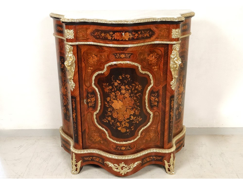 Bronze inlaid wood furniture caryatids supporting marble ...